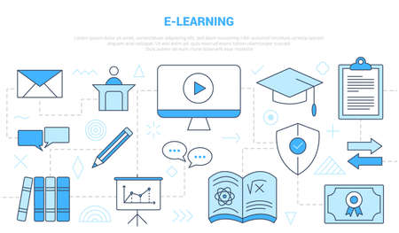e-learning online education concept with icon line style set template banner with modern blue color Illusztráció