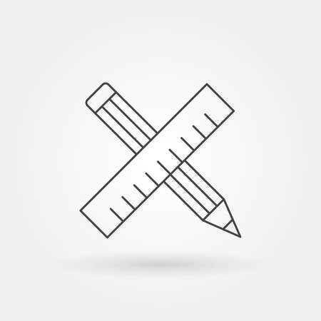 writing pencil ruler icon single isolated with modern line or outline style