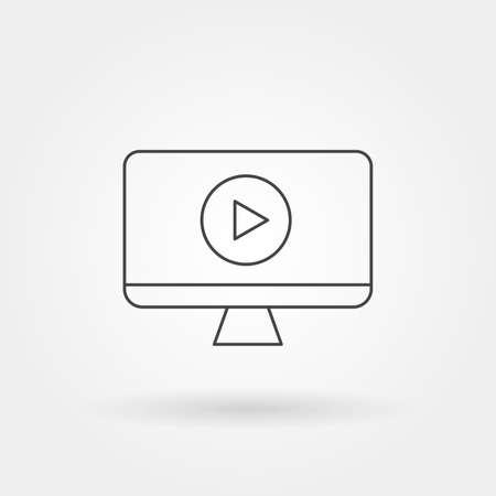 online video icon single isolated with modern line or outline style