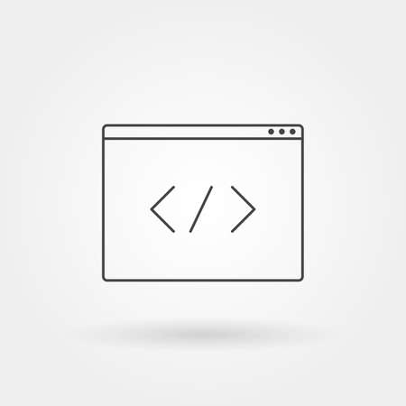 tag code icon single isolated with modern line or outline style Vettoriali