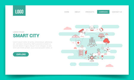 smart city concept skyline building solar panel tree camera smartphone connection server with circle icon for website template or landing page banner homepage outline style vector design illustration 일러스트