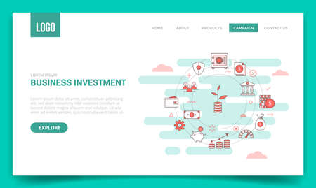 business investment concept vault bank shield protection money piggy growth investment wallet with circle icon for website template or landing page banner homepage outline style vector design illustration