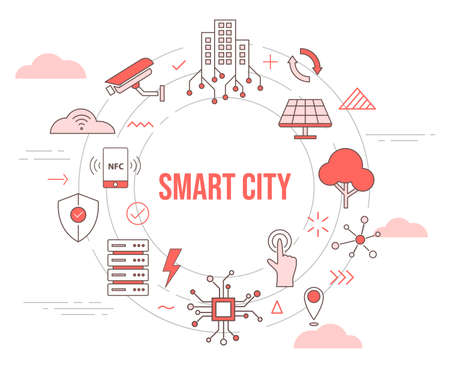 smart city concept skyline building solar panel tree camera smartphone connection server city concept with icon set template banner with modern orange color style and circle round shape vector design illustration 일러스트