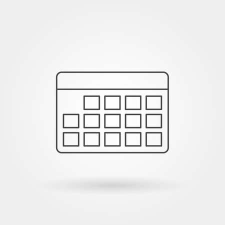 calendar square year month week day single isolated icon with modern line or outline style vector illustration Ilustrace