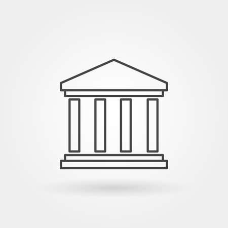 court building single isolated icon with modern line or outline style vector illustration