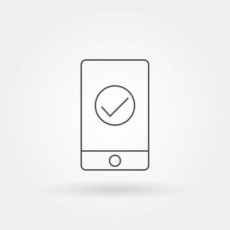smartphone checklist in screen display single isolated icon with modern line or outline style vector illustration