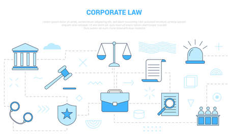 corporate law concept with icon set template banner with modern blue color style vector illustration Illustration