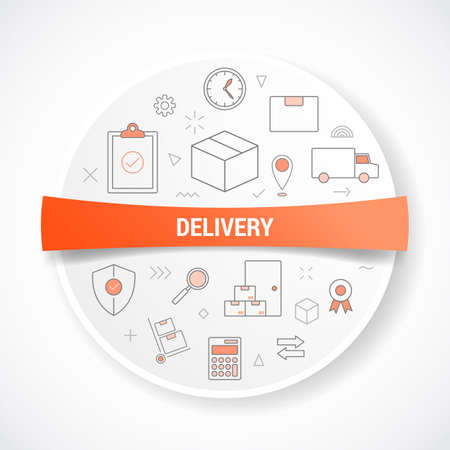 delivery or logistics shipment with icon concept with round or circle shape vector illustration Ilustracja