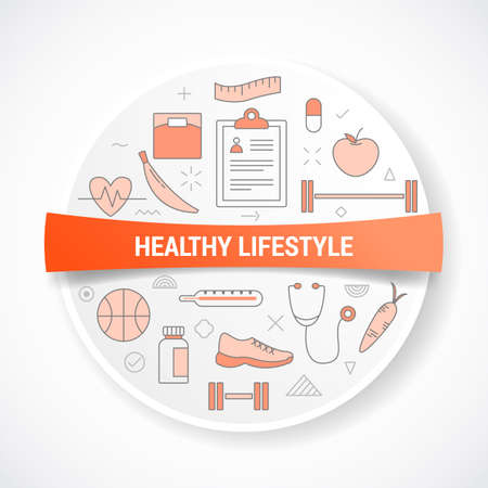 healthy lifestyle with icon concept with round or circle shape vector illustration