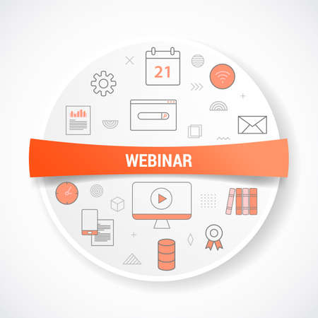 webinar with icon concept with round or circle shape vector illustration