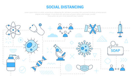 social distancing concept with icon set template banner with modern blue color style vector illustration