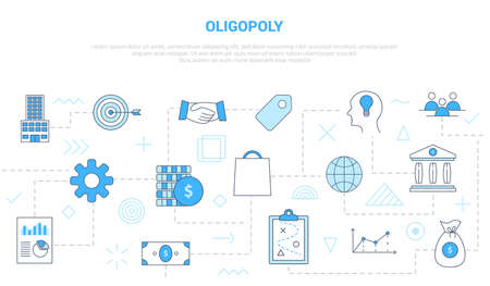 oligopoly concept with icon set template banner with modern blue color style vector illustration