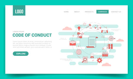 code of conduct concept with circle icon for website template or landing page banner homepage outline style vector illustration