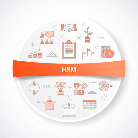 hrm human resource management concept with icon concept with round or circle shape vector illustration
