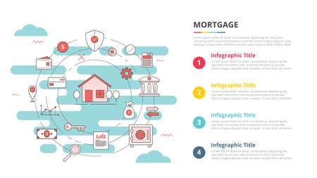 mortgage concept for infographic template banner with four point list information vector illustration