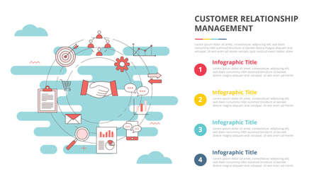 crm customer relationship management concept for infographic template banner with four point list information vector illustration