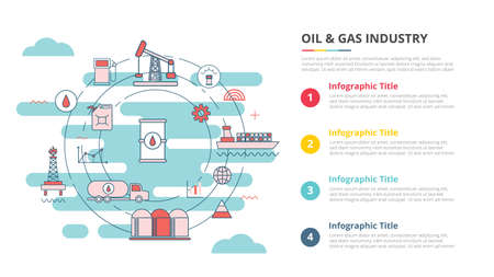 oil and gas industry concept for infographic template banner with four point list information vector illustration