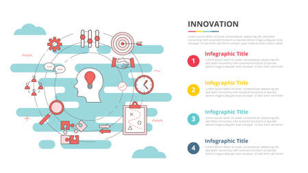 innovation concept for infographic template banner with four point list information vector illustration 向量圖像