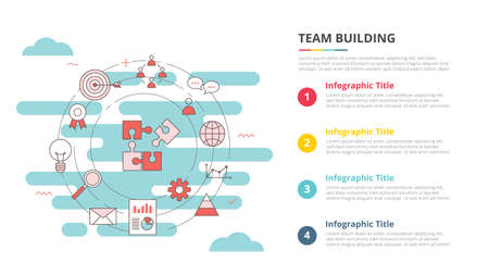 team buiilding concept for infographic template banner with four point list information vector illustration