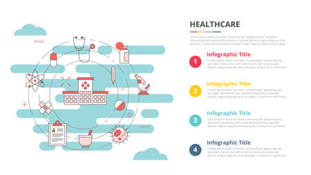 healthcare concept for infographic template banner with four point list information vector illustration