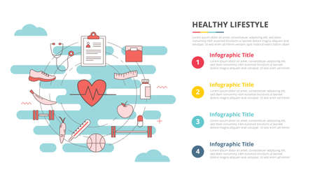 healthy lifestyle concept for infographic template banner with four point list information vector illustration