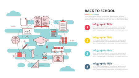 back to school concept for infographic template banner with four point list information vector illustration 向量圖像