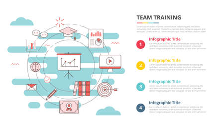 business team training concept for infographic template banner with four point list information vector illustration