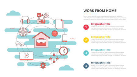 wfh work from home concept for infographic template banner with four point list information vector illustration 向量圖像
