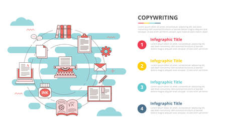 copywriting concept for infographic template banner with four point list information vector illustration 向量圖像