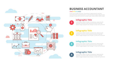 business accountant concept for infographic template banner with four point list information vector illustration