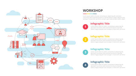 workshop concept for infographic template banner with four point list information vector illustration