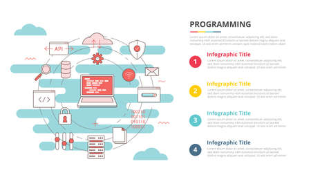 programming concept for infographic template banner with four point list information vector illustration