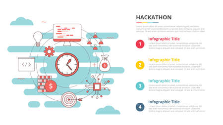 hackathon concept for infographic template banner with four point list information vector illustration