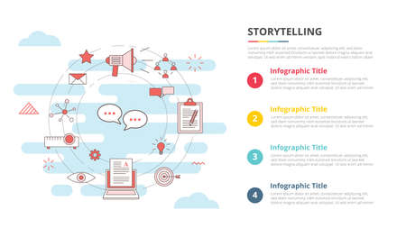 storytelling concept for infographic template banner with four point list information vector illustration 向量圖像