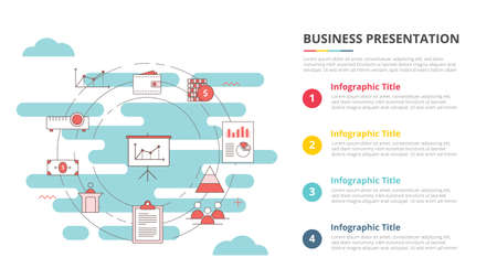 business presentation concept for infographic template banner with four point list information vector illustration 向量圖像