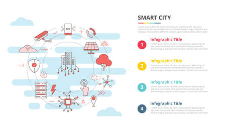 smart city concept for infographic template banner with four point list information vector illustration