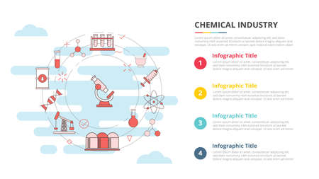 chemical industry concept for infographic template banner with four point list information vector illustration 向量圖像