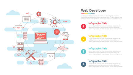 website development concept for infographic template banner with four point list information vector illustration