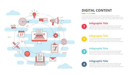 digital content concept for infographic template banner with four point list information vector illustration 向量圖像