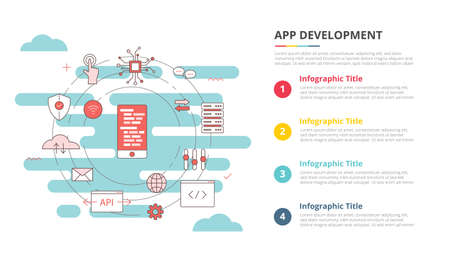 mobile app development concept for infographic template banner with four point list information vector illustration 向量圖像