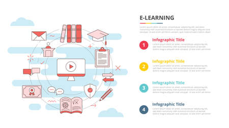 e-learning concept for infographic template banner with four point list information vector illustration