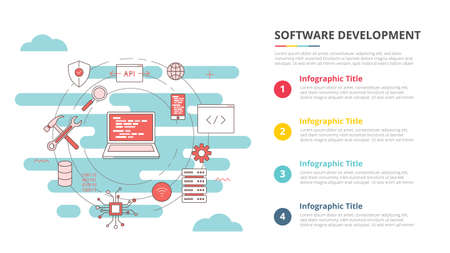 software development concept for infographic template banner with four point list information vector illustration 向量圖像