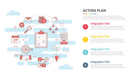 business action plan concept for infographic template banner with four point list information vector illustration 向量圖像