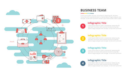business team concept for infographic template banner with four point list information vector illustration