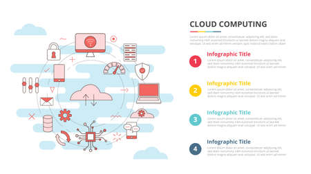 cloud computing concept for infographic template banner with four point list information vector illustration