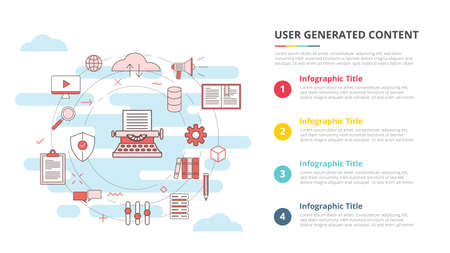 ugc user generated content concept for infographic template banner with four point list information vector illustration
