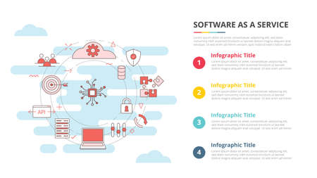 saas software as a service concept for infographic template banner with four point list information vector illustration