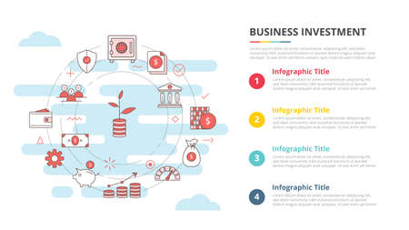 business investment concept for infographic template banner with four point list information vector illustration