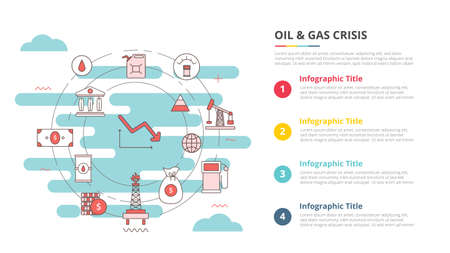 oil and gas industry crisis concept for infographic template banner with four point list information vector illustration 向量圖像
