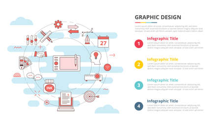 graphic designer concept for infographic template banner with four point list information vector illustration